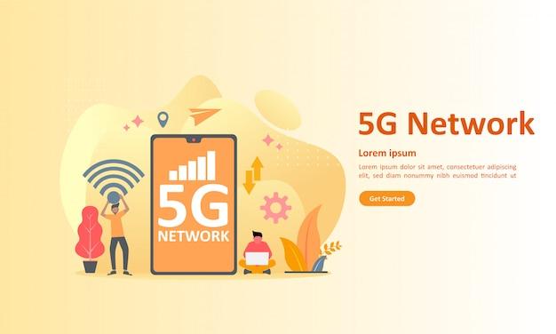 5gネットワークインターネットモバイルワイヤレス Premiumベクター