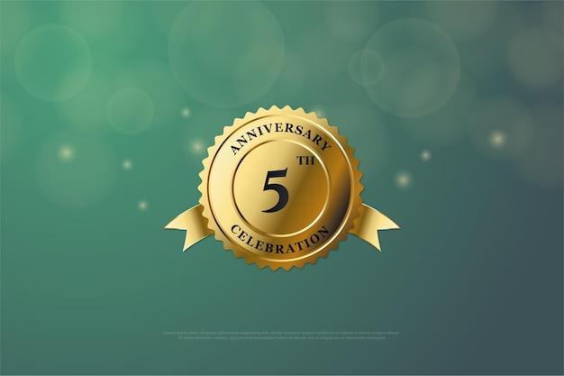 금메달에 숫자가있는 5 주년. 프리미엄 벡터