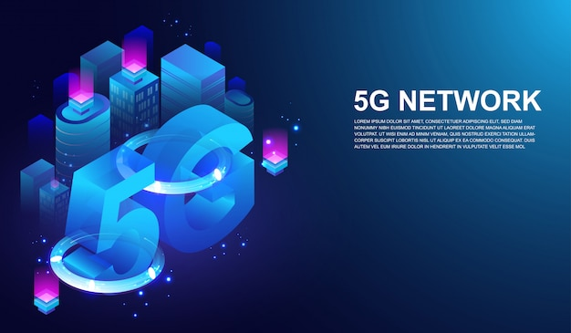 5th internet telecommunication on smart city concept Premium Vector