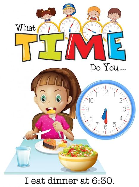 女の子は6時30分に夕食を食べる Premiumベクター