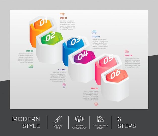 Шаг инфографики с 6 вариантами и 3d стиле Premium векторы