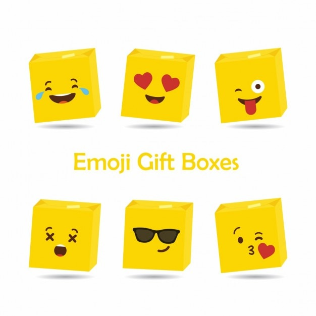 6 cubic emoticons Free Vector