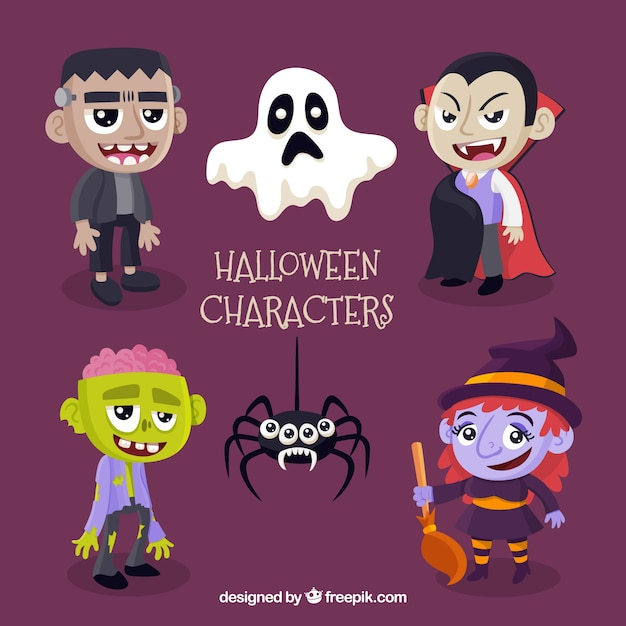 6 cute halloween characters on a purple\ background