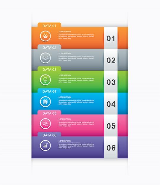 6 data infographics tab paper index template. Premium Vector