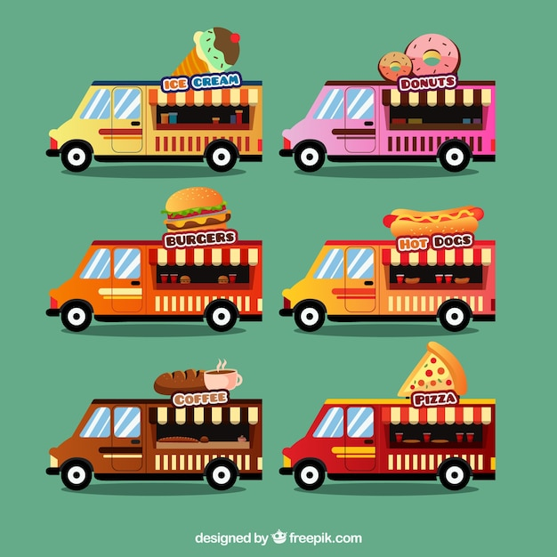 6 different food trucks models\ collection