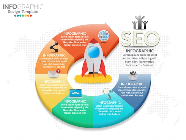 6 parts of presentation business infographic template. Premium Vector