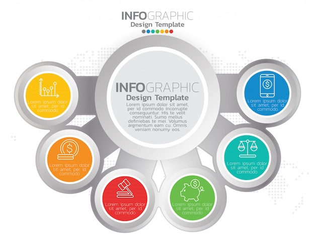 6 parts of presentation business infographic template Premium Vector