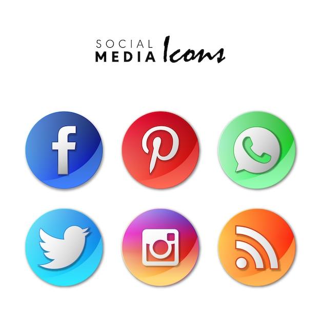6 popular social media icons set in 3d circles Free Vector