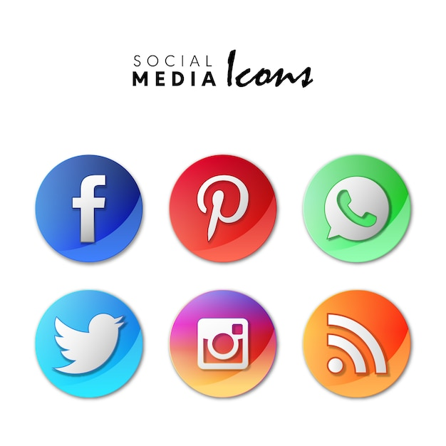 6 popular social media icons set in 3D circles Free Vector