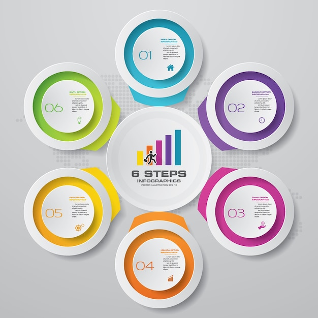 6 steps chart infographics elements.vector illustration. Premium Vector