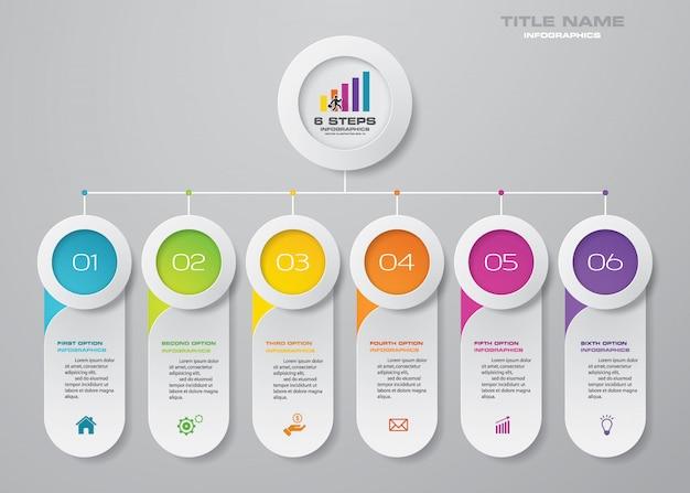 6 steps chart infographics elements. Premium Vector