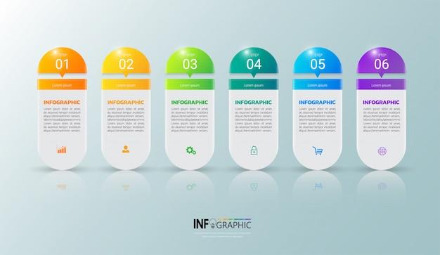 6 steps infographic template Premium Vector