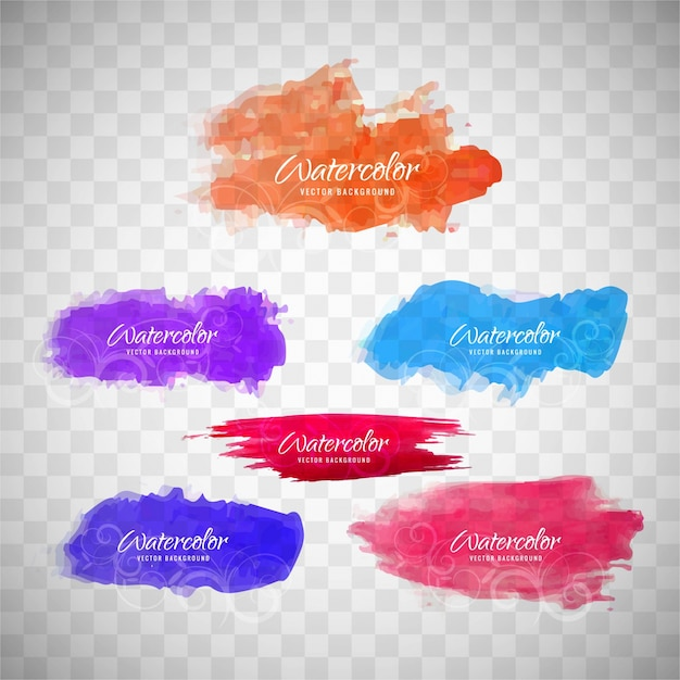 6 watercolor spots Free Vector