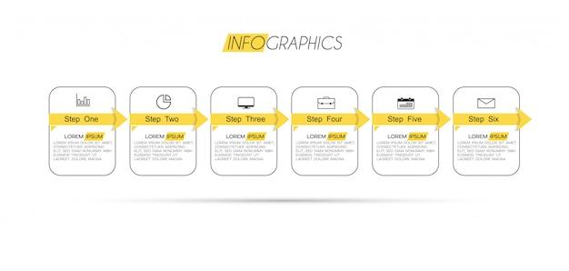 6つのオプションまたは手順を持つインフォグラフィック要素。プロセス、プレゼンテーション、図、ワークフローレイアウト、情報グラフ、webデザインに使用できます。 Premiumベクター