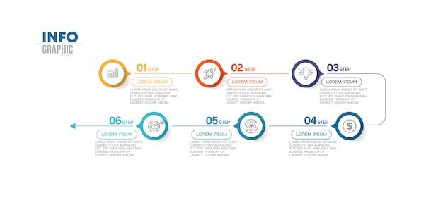 アイコンと6つのオプションまたは手順を持つインフォグラフィック要素。プロセス、プレゼンテーション、図、ワークフローレイアウト、情報グラフ、webデザインに使用できます。 Premiumベクター