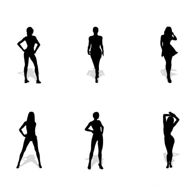 6 woman silhouettes Free Vector