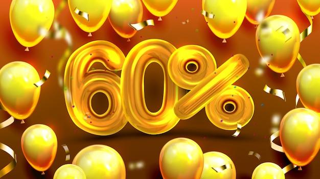 60パーセントまたは60マーケティングセールのオファー Premiumベクター