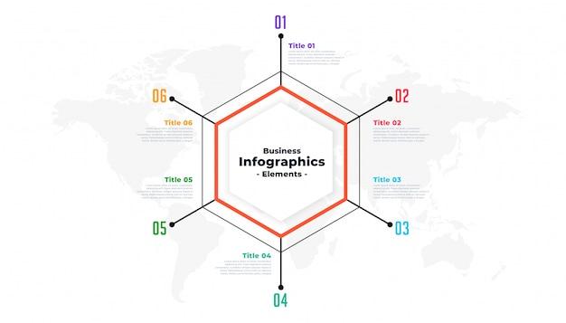 6つのステップ細い線ビジネスインフォグラフィックプレゼンテーションテンプレート 無料ベクター