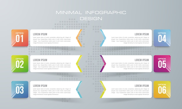 6オプション、ワークフロー、プロセスチャート、タイムラインのインフォグラフィックデザインを持つインフォグラフィックテンプレート Premiumベクター
