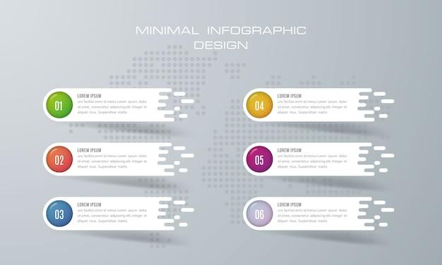 Инфографический шаблон с 6 вариантами Premium векторы