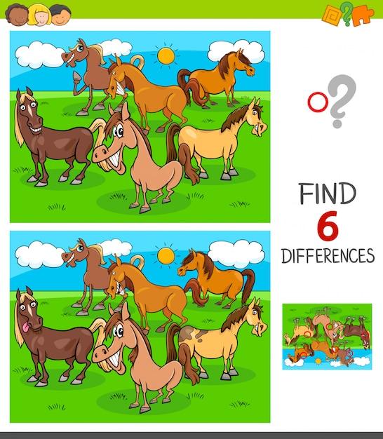 馬との6つの違いゲームを見つける Premiumベクター