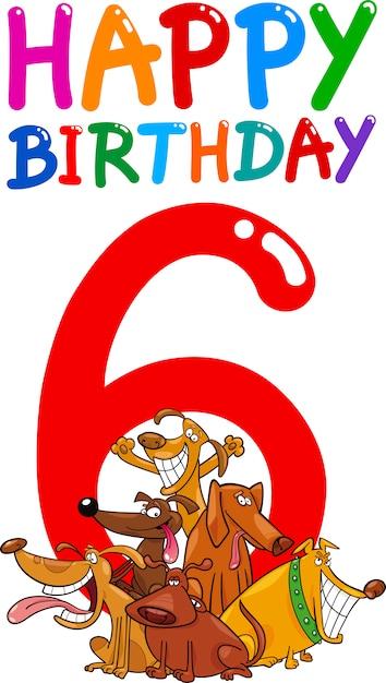 6歳の誕生日記念日のデザイン Premiumベクター