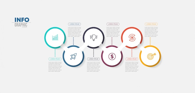 Инфографики элемент с иконками и 6 вариантов или шагов. Premium векторы
