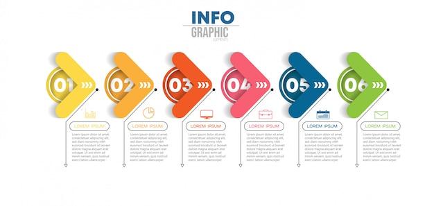 Инфографики элемент с иконками и 6 вариантов или шагов. может использоваться для процесса, презентации, диаграммы, схемы рабочего процесса, информационного графика Premium векторы