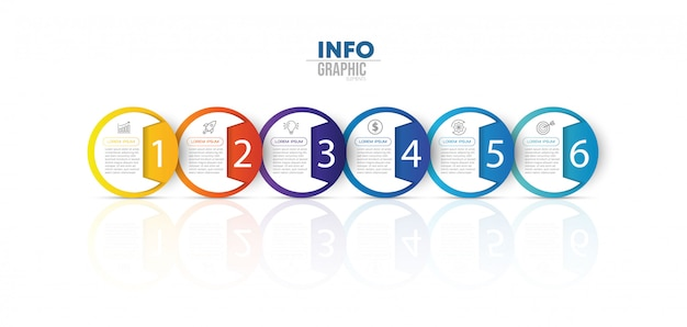 アイコンと6つのオプションまたは手順を持つインフォグラフィック要素 Premiumベクター