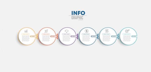 Инфографики элемент с иконками и 6 вариантов или шагов Premium векторы