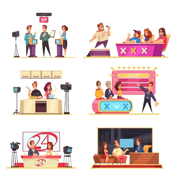 Телевизионное игровое шоу 6 мультипликационных композиций с участием ведущих участников, решающих головоломки, отвечающих на вопросы певцов жюри Бесплатные векторы