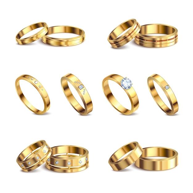 Золотые обручальные кольца 6 реалистичных изолированных наборов благородных металлов с бриллиантами украшения на белом фоне иллюстрации Бесплатные векторы