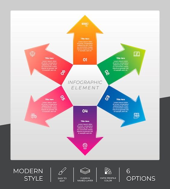 Рабочий процесс стрелка инфографики дизайн с 6 вариантами и современный дизайн. вариант инфографики может быть использован для презентации, годового отчета и бизнес-целей. Premium векторы