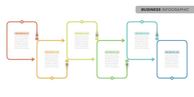 ビジネスの創造的なデザインの線形インフォグラフィックテンプレート。 6つのオプション、矢印、ボックスを使用したタイムラインプロセス。ベクトル図 Premiumベクター