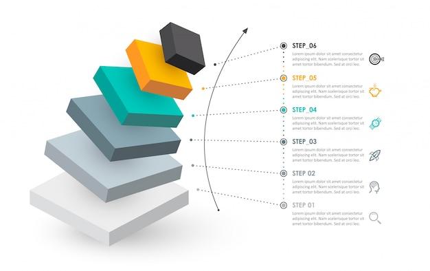 等尺性のインフォグラフィックデザインのアイコンと6つのオプションレベルまたは手順。ビジネスコンセプトのインフォグラフィック。 Premiumベクター