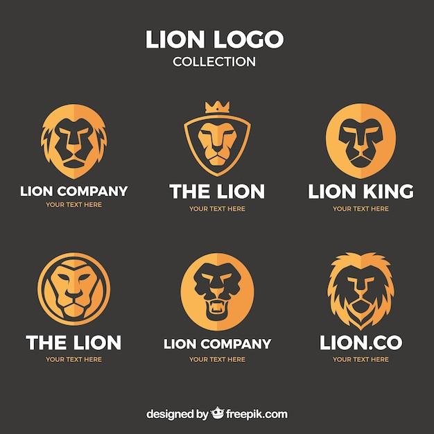 6つのライオンロゴ、フラットスタイル 無料ベクター