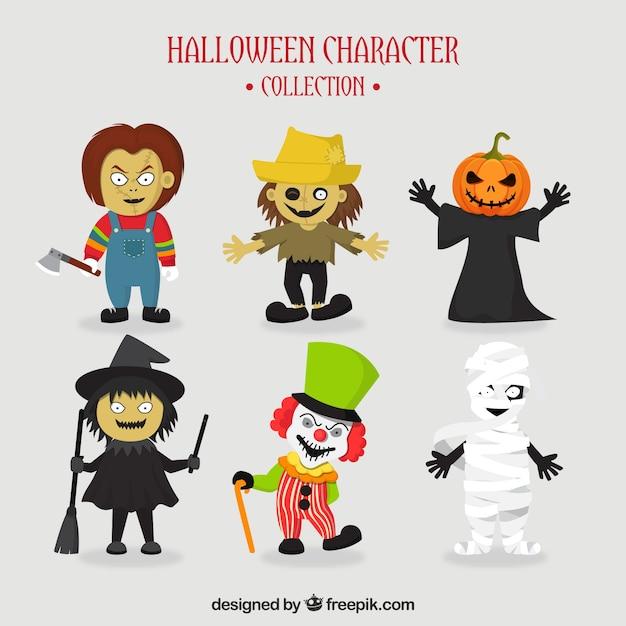 6人の典型的なハロウィーンのキャラクターのセット 無料ベクター