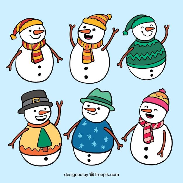 6 счастливых снеговиков Бесплатные векторы