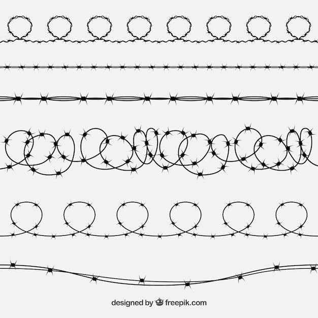 6本の有刺鉄線セット 無料ベクター