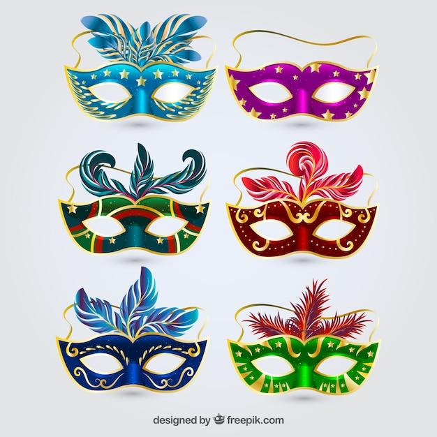6つのカーニバルマスクコレクション 無料ベクター