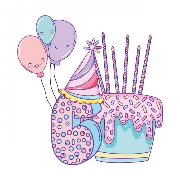 風船と数字の6の誕生日ケーキ Premiumベクター