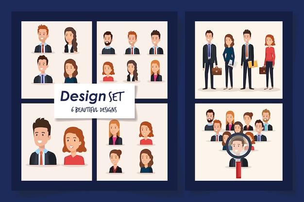 6つのシーンのビジネス人々のベクターイラストデザイン Premiumベクター