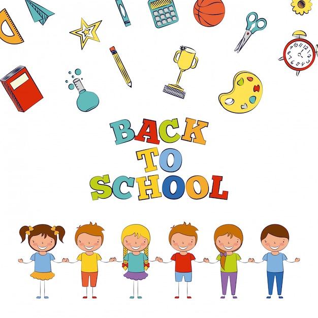 学校の要素の図が付いている学校に戻って6人の子供 無料ベクター