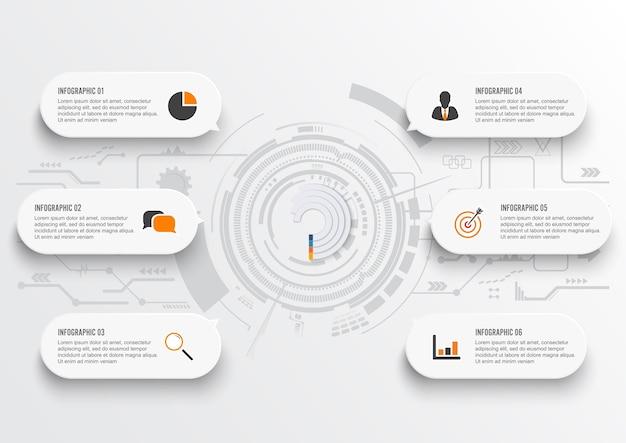ビジネスデータ。 6ステップのグラフの要素を抽象化する。 Premiumベクター