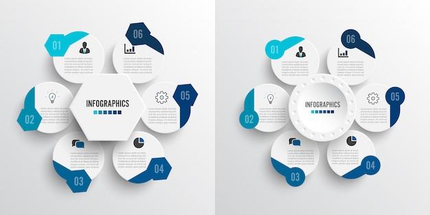 Задайте векторные иллюстрации инфографика 6 вариантов. Premium векторы