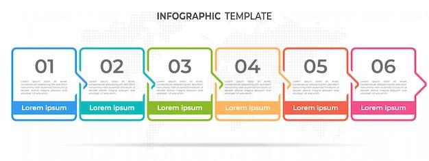 モダンなタイムラインインフォグラフィックテンプレート6オプション。 Premiumベクター