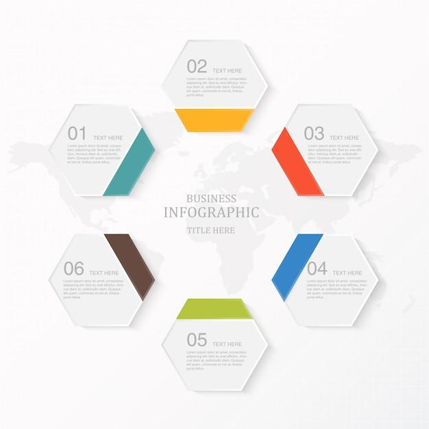 モダンなインフォグラフィック6要素とアイコン Premiumベクター