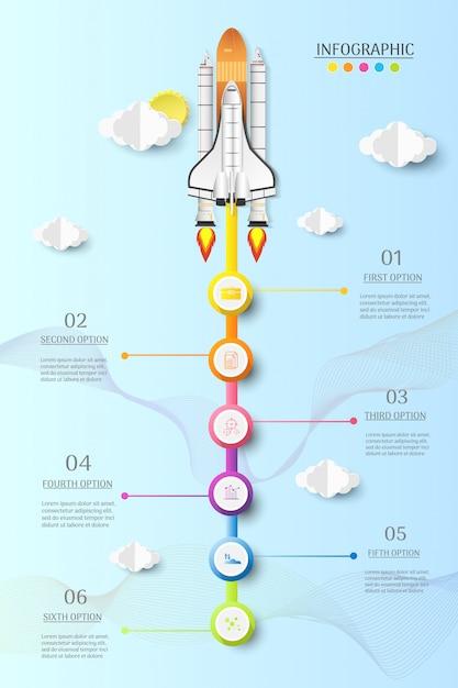 デザインビジネステンプレート6オプションまたは手順インフォグラフィックグラフ要素。 Premiumベクター