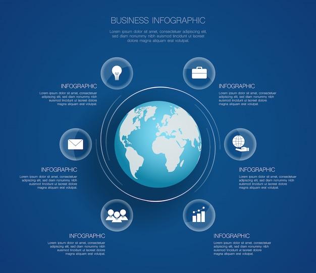 Современный круг инфографики с картой мира и 6 вариантов Premium векторы