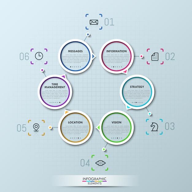 6つの円形の要素を持つ創造的なインフォグラフィック Premiumベクター